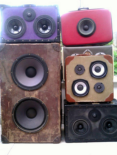 Upcycled retro portable stereos